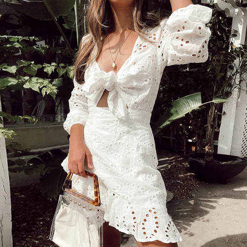 White Feminine Summer Dresses Sexy V Neck Hollow Out Cotton Women Boho Short Dress Casual Boho Bow Party Dress Vestidos