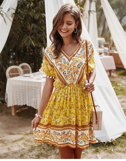 Summer Short Print Dress Women A-line Cotton Bohemian V-neck High Waist Mid-calf Dress