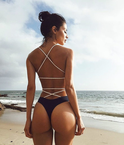 Sexy One Piece Swimsuit Black Monokini Backless Trikini 2020 Swimwear Women Bikinis Thong Triquini Female Bandage Bathing Suits