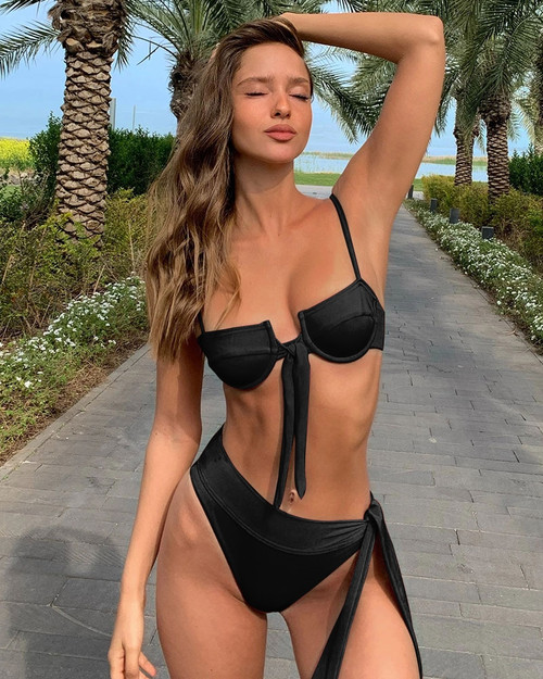 2020 Push Up Bikinis Female Cup Swimming Suit For Women Bathing Suit Biquini Long String High Cut High Waist Bikini Set