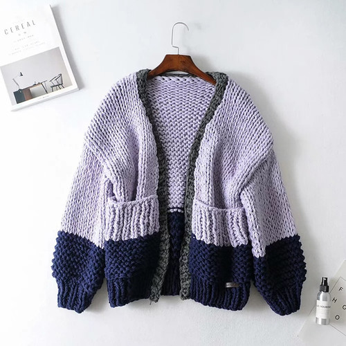 Patchwork Hit Color Knitting Sweater For Women Cardigan Lantern Sleeve Casual Autumn Sweaters Female 2020 Fashion New Purple