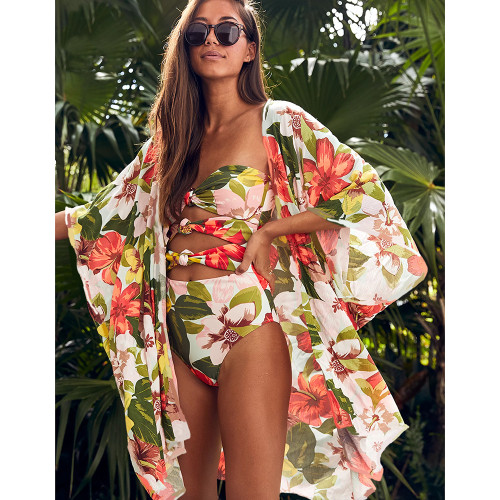 One Piece Swimsuit Bandeau Swimwear Women 2020 Print Bow Monokini Push up Backless Bathing Suits Floral Sexy Bodysuit Beachwear