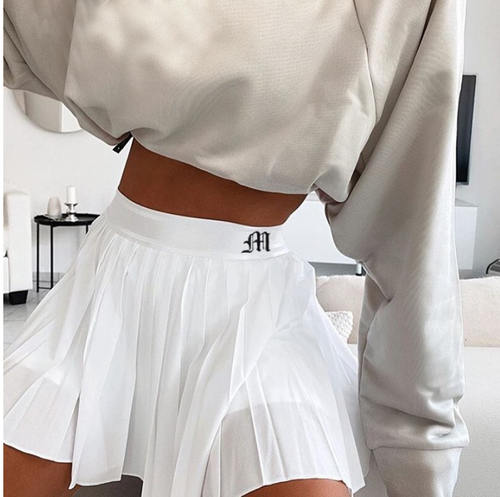 Casual White Mini Pleated Skirts Shorts Letter Print High Waisted Short Skirt Korean Preppy Style Summer Dance 2020