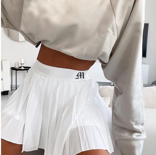 Casual White Mini Pleated Skirts Shorts Letter Print High Waisted Short Skirt Korean Preppy Style Summer Dance 2020