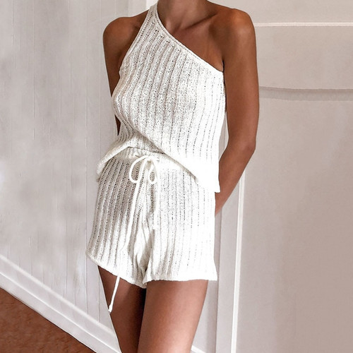 Autumn knitted one shoulder playsuit women Casual 2 set elegant jumpsuit romper Cool daily short overalls romper