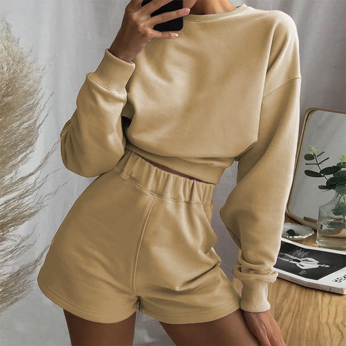Autumn Sweat Suits Women Two Piece Outfits Baggy Long Sleeve Solid Woman Tracksuit 2 Pieces Streetwear Casual Tops Top khaki