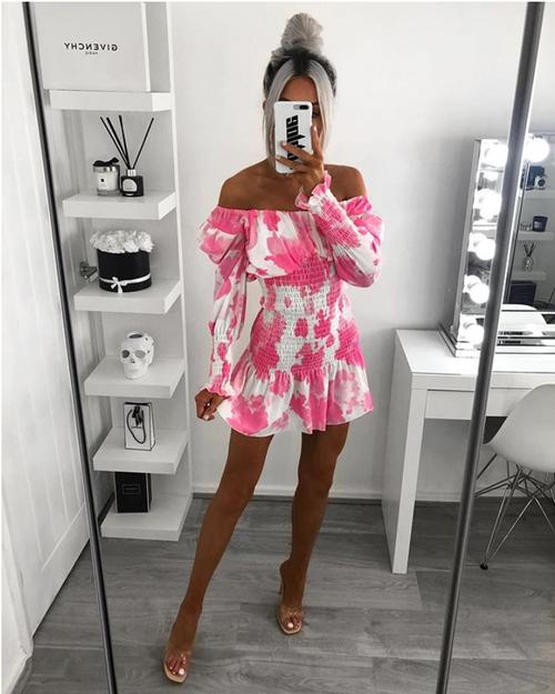 High Quality 2020 Square Neck Long Sleeve Pink Women Elegant Mini Dress