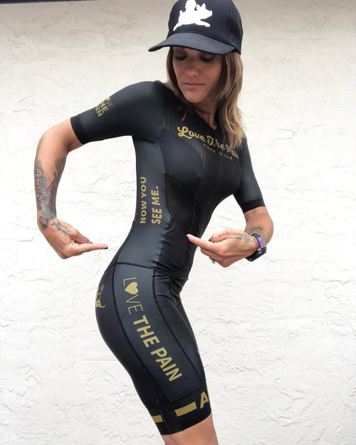 Triathlon Suit LOVE THE PAIN Womens Trisuit short sleeve cycling skinsuit team clothing uniformes de ciclismo para mujer go pro