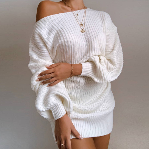 Casual Knitted Mini Dress Women Autumn Winter Sweaters Balloon Long Sleeve Knitwear Women's Dresses Loose Jersey