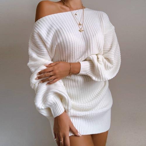 Casual Knitted Mini Dress Women Autumn Winter Sweaters Balloon Long Sleeve Knitwear Women's Dresses Loose Jersey