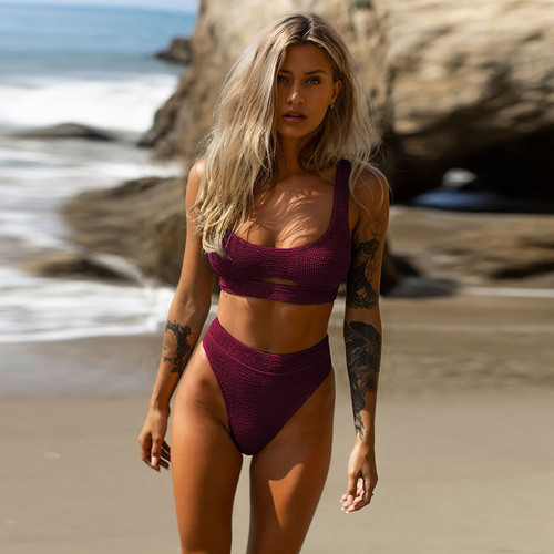 2020 Sexy Women Hollow Out Bikini Swimsuit Swimwear Female Bandeau Thong Brazilian Biquini Bikini Set Bathing Suit Bather Purple