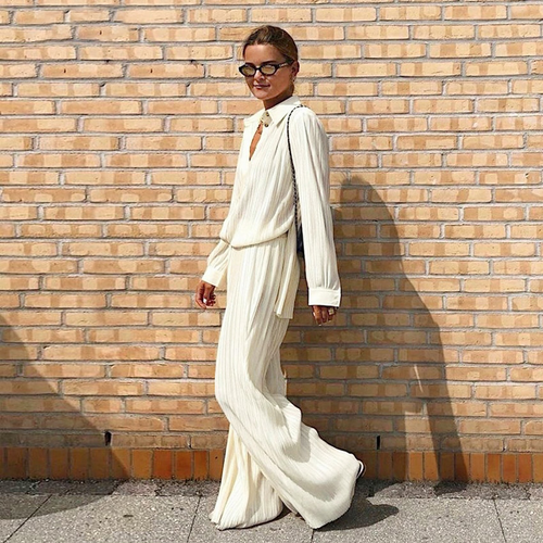 Beige Pleated Wide Leg Pants Women'S Pants Fashion 2020 Casual Loose Trousers Office Lady Elegant Long Palazzo Pants