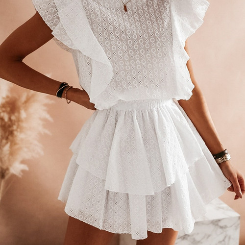 White Lace Mini Dresses Women Vintage Ruffles Hollow Out O-neck High Street A-line Sexy Embroidery Short Dresses Summer 2020 New