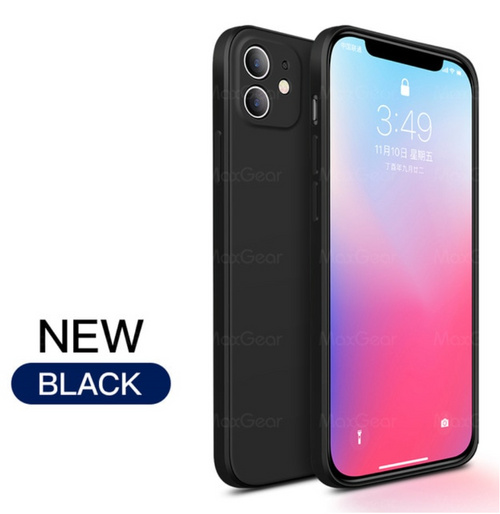 New Luxury Original Square Liquid Silicone Soft Case For iPhone 12, Mini, Pro, Max 2020 Phone Cover Black