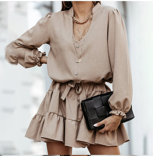 A-Line V-Neck Short Ruffle Mini Dress Women Front Button Fashion Street Wear Casual Dresses Ladies Daily Clothes 2020