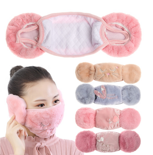 New 2 in 1 Warm Earmuffs Cartoon Cute Ear Muffs Ear-cap Autumn Winter Thicken Plush Outdoor Riding Keep Warm Earflap Hot Sale