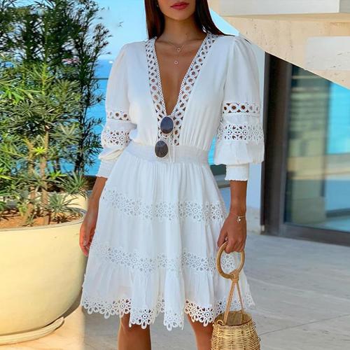 White Deep V Neck Lace Trim Mini Dress