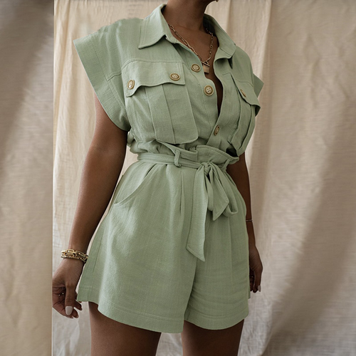 Green two piece suit short sleeve shirt and shorts Women loose casual summer playsuit Female 2021 new sets with belt
