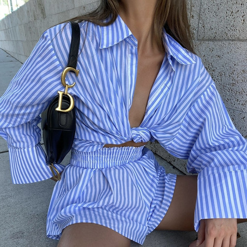 Fashion Casual Striped Blouse Shirts and Shorts Matching Set Loose Shirt Sleeve Top Outfits Summer 2021 Women Set
