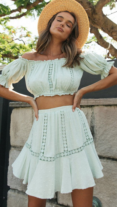 2Pcs Sets Lace Off Shoulder Crop Tops and Short Pleated Skirt Sky Blue