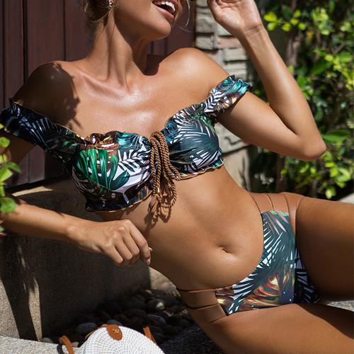 Short sleeves swimwear female Ruffle bikinis 2021 mujer Drawstring swimsuit women Leaf print bathing suit Sexy bodysuit
