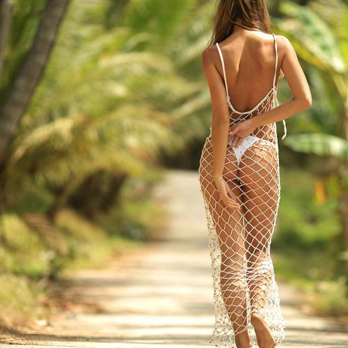 Bikini Cover Up Lace Hollow Crochet Swimsuit Beach Dress Women 2020 Summer Ladies Cover-Ups Bathing Suit Beach Wear Tunic White