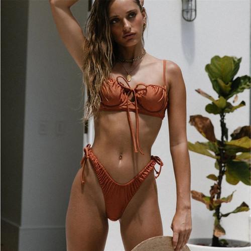 Sexy Bikinis 2021 Cup Swimsuit Push Up Biquini Bandage Leopard String Bikini Set Folds Swimwear Women Solid Beach Bathing Suit