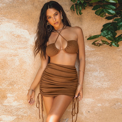 Ribbed Knit Halter Crop Top and Skirts 2 Piece Set Women Fashion Outfits Summer Drawstring Ruched Matching Set