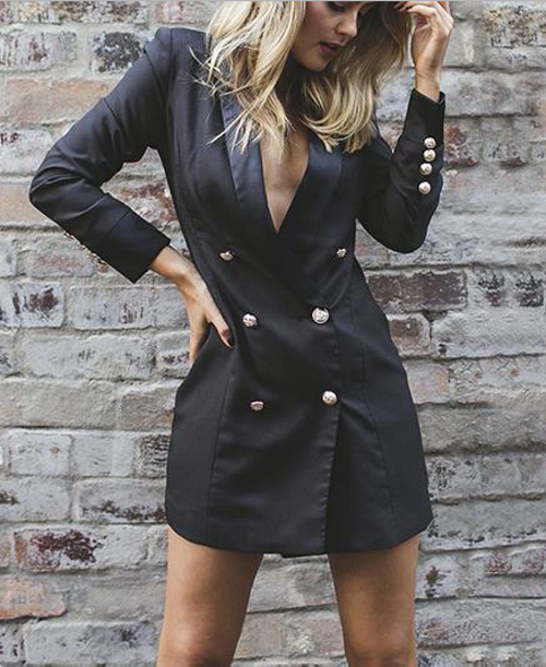 BLAZER DRESS BLACK - PALACEOFCHIC