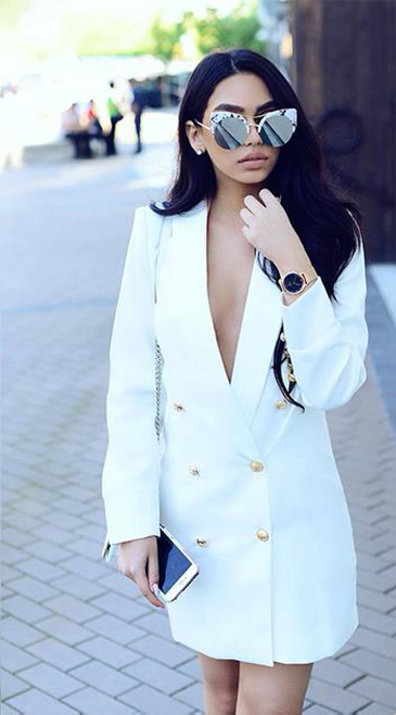 BLAZER DRESS WHITE - PALACEOFCHIC