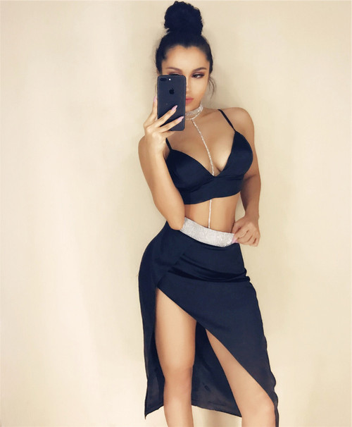 sexy 2 pieces split skirt - wantmychic