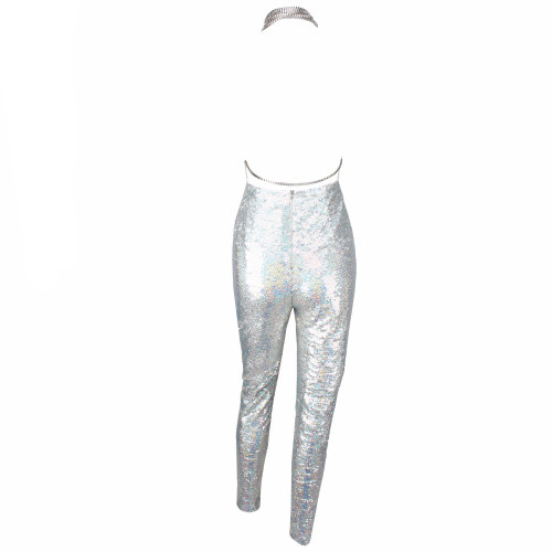 b0e250b000d Sexy Silver V-Neck Low Back Sequins Jumpsuit - WANTMYCHIC