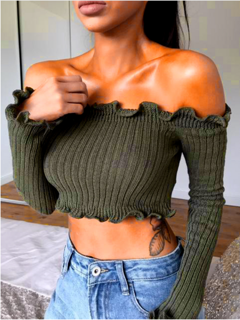 Sexy Off Shoulder Knitted Women Crop Tops - wantmychic