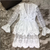 Runway Designer Flare Sleeve Fashion Sexy Deep V-neck Mini-dress Pink Luxury Brand Fall/autumn Lace Ruffled Dress White