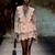 Runway Designer Flare Sleeve Fashion Sexy Deep V-neck Mini-dress Pink Luxury Brand Fall/autumn Lace Ruffled Dress White