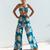 Blue Tropical Floral Print Jumpsuit Elegant Off Shoulder 2 Piece Romper Womens Summer Boho Wide Leg Cool Beach Overalls