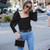 Casual Puff Sleeve Top Ladies Black Shirts Womens Tunic Blouses And Tops Square Collar Fall Winter Sexy Blouse Clothing
