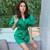 Green Wrap Dress Lantern Sleeve Sexy V-Neck Bodycon Dresses Women Autumn 2019 Bow Mini Dress Short Party Club