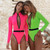 Sexy Zipper One Piece Swimsuit Neon Long Sleeve Sports Swimwear Women Belt Bodysuits Monokini High cut Bathing suit New 2020