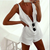 White Cotton Linen Button Up Sexy Romper Shorts Casual Backless Jumpsuit Women Summer 2020 Fashion Playsuit C34-AZ58