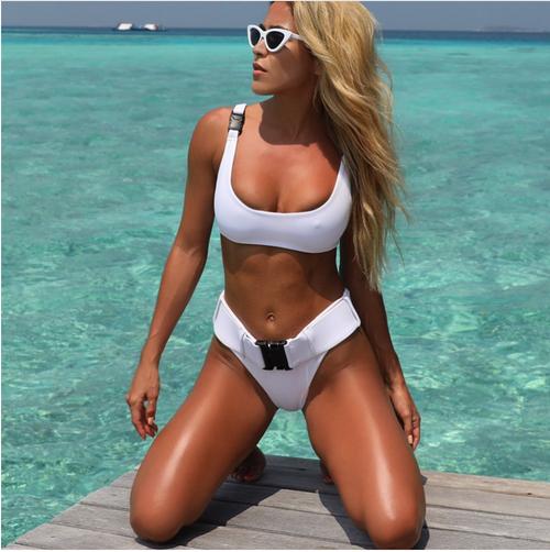 643f8ccbb08 2018 Biquini White Sexy High Cut Brazilian Thong Bikinis Women Swimsuit  Triangle Molle Buckle Girls Swimwear ...