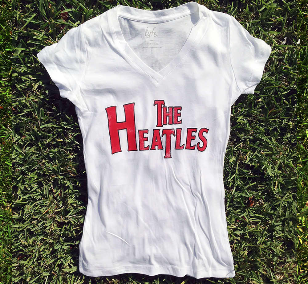 LYFE The Heatles Women's White Hot V-neck Vintage Shirt