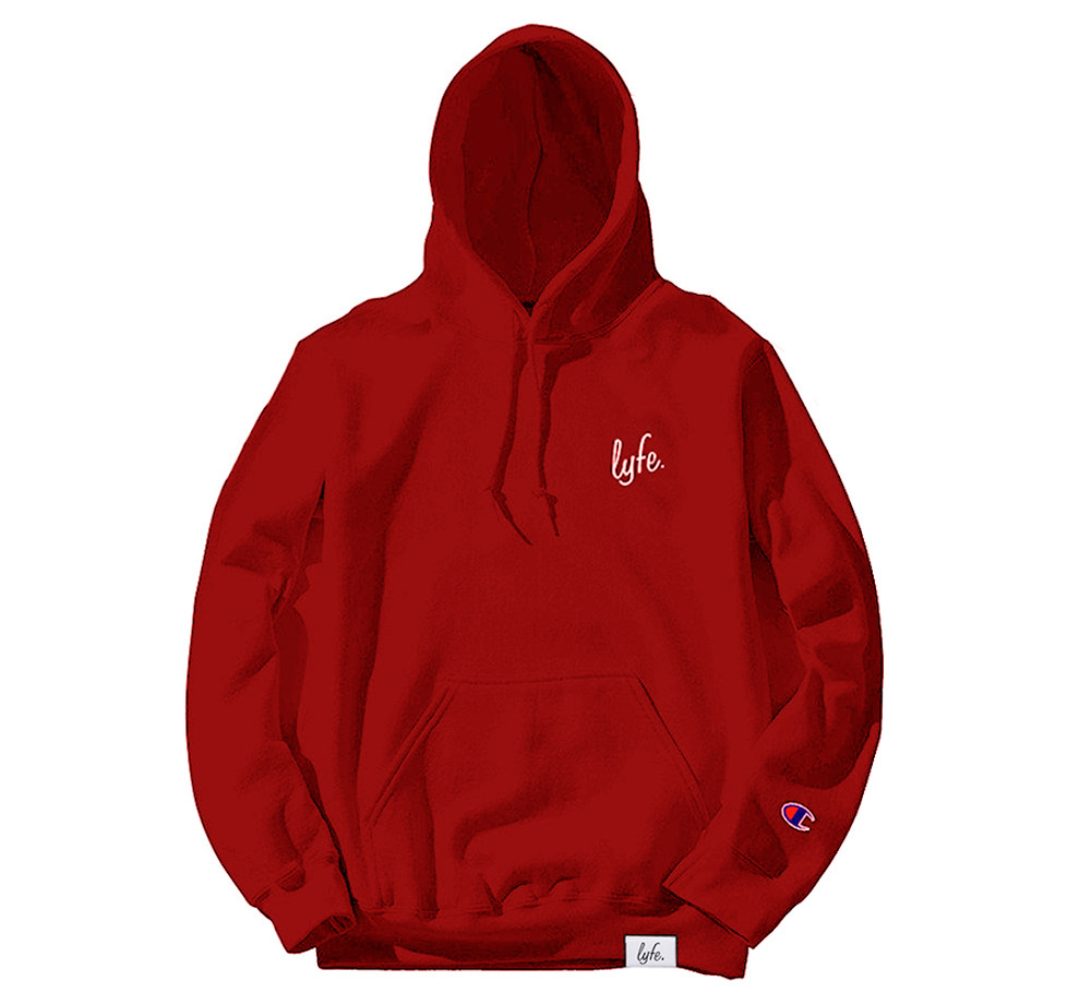 LYFE SCRIPT EMBROIDERED RED HOODIE