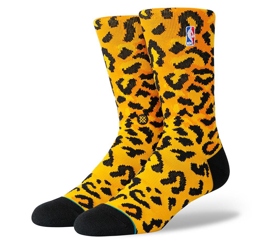 Stance NBA Logoman Leopard Socks (Gold)
