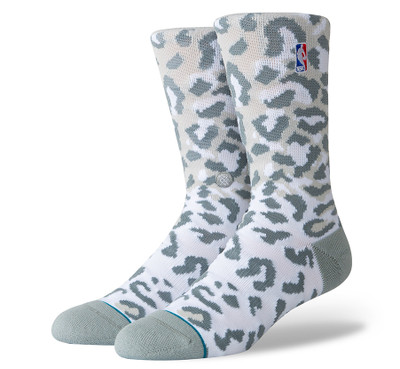Stance NBA Logoman Leopard Socks (Grey)