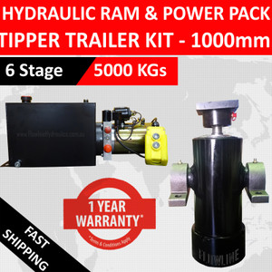 Hydraulic Tipper Trailer Kit- 1000mm Hydraulic Ram and Hydraulic Power Pack with 10 lt Tank