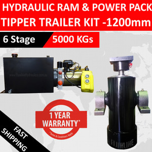 1200mm Hydraulic Tipper Trailer Kit - 1200mm 6 Stage hydraulic Cylinder with Hydraulic Power Pack