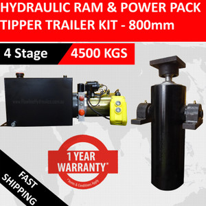 800mm Tipper Trailer Kit- 4 Stage Hydraulic Cylinder with Hydraulic Power Pack