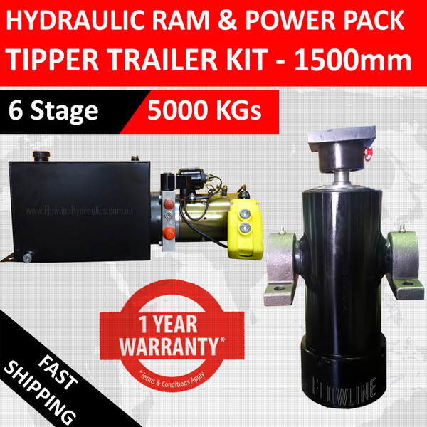 1500mm Tipper Trailer Kit - 6 Stage Hydraulic Cylinder with Hydraulic Power Pack