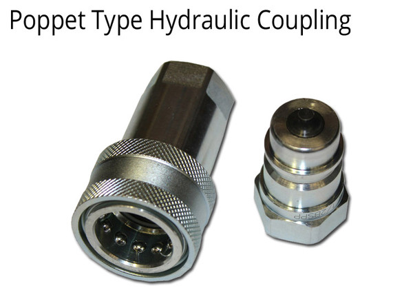 """HYDRAULIC COUPLING 1/2"""" BSPP THREADS POPPET TYPE- 2 SETS"""